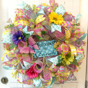 Welcome My Friends Spring Floral Loop & Curl Deco Mesh Wreath