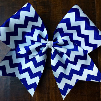 Practice Cheer Bow - Blue and White Chevron