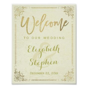 Gold Floral Frame Welcome Wedding Reception Sign Poster