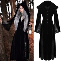 Halloween Medieval Maiden Cosplay Dress Womens Vintage Costume Hooded Dress