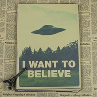 "retro kraft vintage paper ""X FILES I WANT TO BELIEVE "" wall stickers home decor living room poster sticker wall art HX-050"