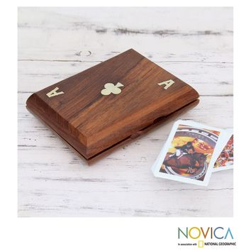Handcrafted Seesham Wood Brass 'Ace of Clubs' Playing Card Box (India) | Overstock.com Shopping - The Best Deals on Games