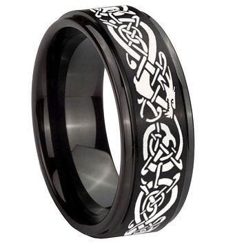 8mm Celtic Knot Dragon Step Edges Brush Black Tungsten Carbide Promise Ring