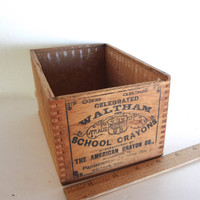 Vintage Waltham Wooden Crayon Box American Crayon Co Vintage Ads 6.5 Inches Long 3.5 Inches Tall 4.5 Inches Wide Some Wear
