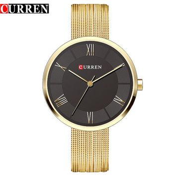 2017 Curren Women Watches Top Brand Luxury Gold Mesh Strap Bracelet Quartz Watch Lady Fashion Dress Wristwatch Relogio Feminino