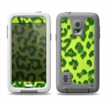 The Vibrant Green Cheetah Samsung Galaxy S5 LifeProof Fre Case Skin Set