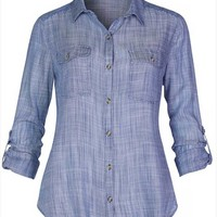 Lightweight Chambray Button Up