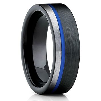 Blue Tungsten Ring - Gary Tungsten Ring - Black Tungsten - Brush