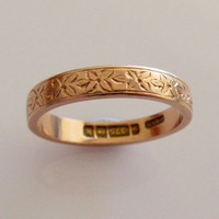 9ct Rose Gold Engraved Wedding Ring Band Size M or 6 dated 1921