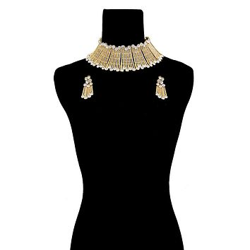 Gold Bar and Round Rhinestone Rigid Collar Choker Necklace Set