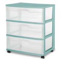Sterilite Portable Mobile Wide 3 Drawer Storage Organizer Cart with Wheels