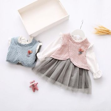 Autumn Cute Baby Girls Long Sleeve Doll Collar Kids Princess Party Dress vestidos roupas de bebe
