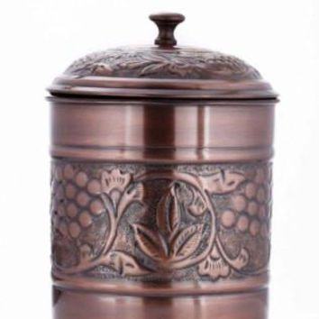 7 x 9.5 Antique Copper Embossed Heritage Cookie Jar 4 Qt