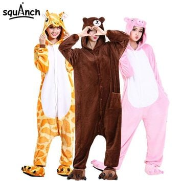 Animal Onesuit Cartoon Anime Kigurumi High Quality Pajama Soft Flanne Women Men Adult Sleep Overalls Pokemon Bear Carnival Suit