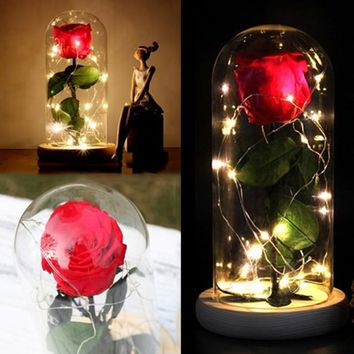 Handmade Rose with LED Lights PreserveFreshFlower Beauty and The Beast Rose ,with Dome Preserved Rose Metal Rose Enchanted Rose