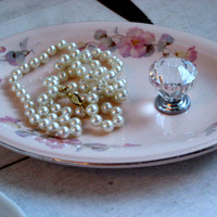 Jewelry display organizer, pink flowered vintage china oblong dish with gorgeous clear diamond shaped glass knob