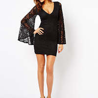 V-Neck Lace Trumpet-Sleeve Bodycon Dress