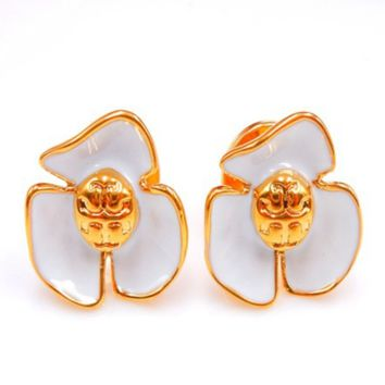 Tory Burch Fashion New Personality Floral Petal Earring Accessories Women White