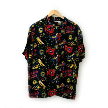 Vintage Unisex Shirt ~ Size Medium ~ Tribal Aztec Polka Dot Pattern Black Red Burple Green Blue Yellow White ~ By Chico's Design