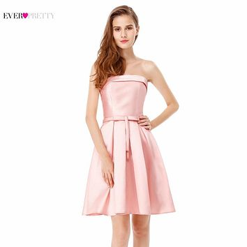 Cocktail Dresses Ever Pretty EP05577 2017 Spring New Girl's Double Strapless Pink Grey Satin Summer Cocktail Dresses EP05578