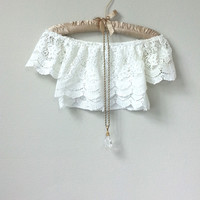 Gorgeous Romantic Off the Shoulder White Lace Short Sleeve Crop Top