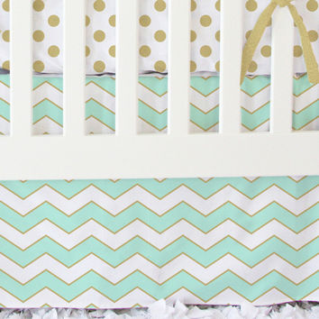 Metallic Mint Chevron Bumperless Crib Bedding