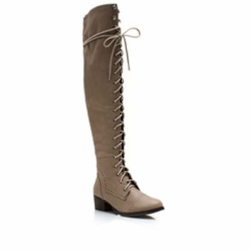 Wing Tip Knee-High Boots - GoJane.com