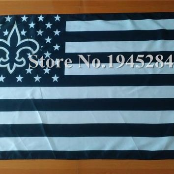 NFL New Orleans Saints with US Stars Stripes Flag Banner 3x5ft 150x90cm Polyester, free shipping