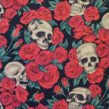 Red Roses and Skulls Print Pure Cotton Fabric from ALexander Henry-One Yard