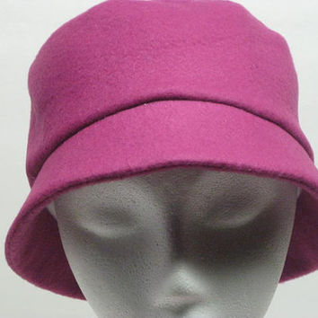 Cloche Fleece Hat, Bucket Hat, Full Coverage Hat, Hairloss Hat, Chemo Hat, Winter Wear, Fully Lined, Dark Pink