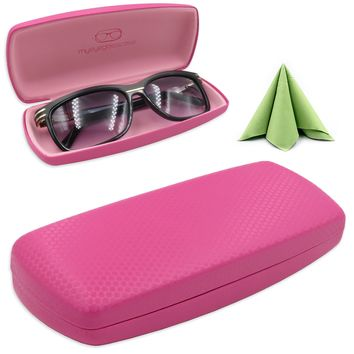 Hard Eyeglass case with Cloth for Medium Size Frames (AS302 Pink)