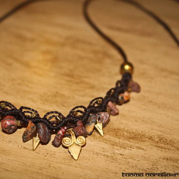 Macramé Necklace Tiara Headband with Healing Bead Natural Stones Brass beads and Charms – Gypsy Bohemian – Hippie – Native - 22k Gold Plated