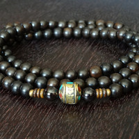 Ebony & Garnet Lotus Mantra Mala - Necklace and Wrap Bracelet - Yoga, Jewelry, Buddhist, Meditation, Prayer Beads