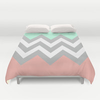 DOUBLE COLORBLOCK CHEVRON {MINT/CORAL/GRAY} Duvet Cover by n a t a l i e | Society6