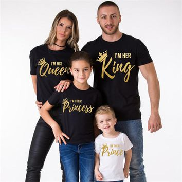 Cool YorkZaler Family Matching Clothing Print Golden Letters Cotton T-shirt KING QUEEN PRINCE PRINCESS T shirt Family LookAT_93_12