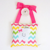 Girl's Tooth Fairy Pillow - Personalized Tooth Fairy Pillow in Pastel Chevron Print Cotton