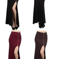 Solid Knit High Waist Mermaid Hem Long Maxi Side Slit Skirt Front Zipper Closure