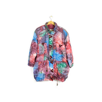 vintage silk pastel batik jacket - puffy tie dye rainbow coat