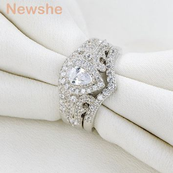 925 Sterling Silver Ring Set 1.3 Ct AAA CZ 3 Pcs Wedding Sets Fashion Jewelry For Women
