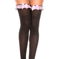 Opaque Thigh Highs with Garter Style Top