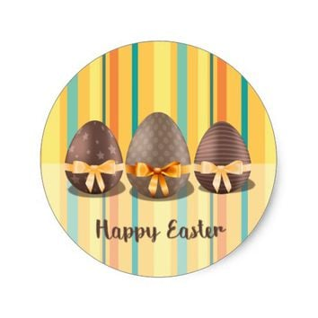 Colorful Happy Easter, Choco Easter Eggs Classic Round Sticker