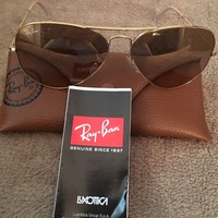Cheap Ray Ban RB3025 Aviator Large Metal 112/M2 58mm Polarized Gold Brown Sunglasses outlet
