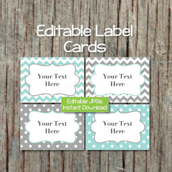 Name Tags Editable Labels Cards JPG File Printable Baby Shower Name Tags Digital Collage Sheet Light Teal Grey INSTANT DOWNLOAD 002
