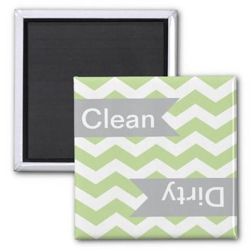 Green Chevron Clean - Dirty Dishwasher Magnets