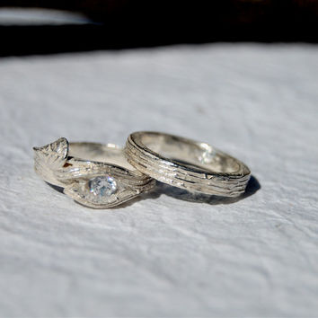 BRANCH Twig ring Engagement Swarovski lab Wedding set tree bark