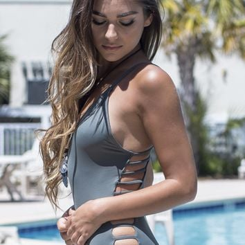 Weekend Waves Grey Strappy Back One Piece