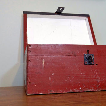 Large Vintage Tool Box, Rustic Decor, Industrial Storage, Wooden Box