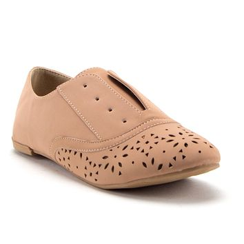Women's Salya-707 Slip On Laser Cut Out Perforated Lace-Less Menswear Oxfords Flats Shoes