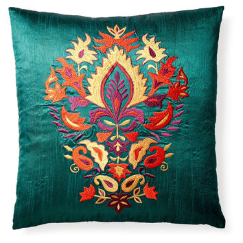 Thalia 20x20 Embroidered Pillow, Teal, Decorative Pillows
