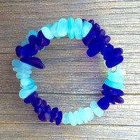 Robins Egg Blue and Cobalt Blue Sea Glass Mix  Bracelet Beach Bangle in by Wave of Life™